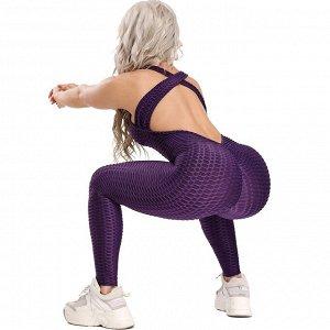 Черный спортивный комбинезон с открытой спиной
