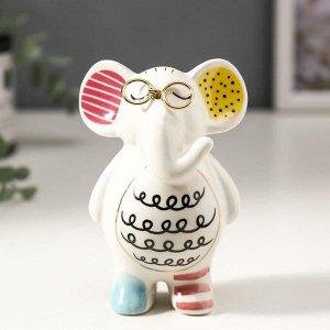 """Сувенир керамика """"Слонёнок в очках"""" цветные пятнышки 10х5х7 см"""