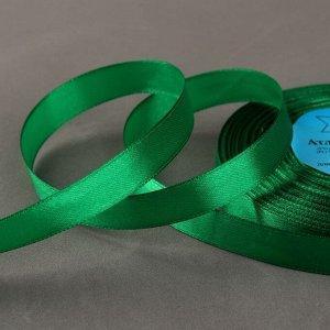 Лента атласная, 12 мм ? 33 ± 2 м, цвет зелёный №019