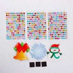 Набор для творчества «Новогодние магнитики: снежинка, колокольчик, снеговик»
