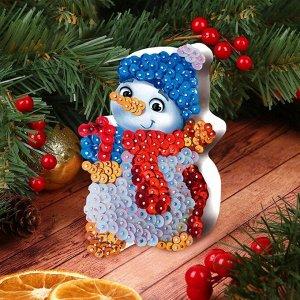 Аппликация пайетками «Снеговик»