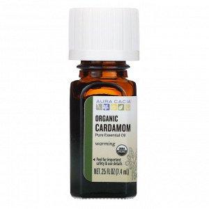 Aura Cacia, чистое эфирное масло, органический кардамон, 7,4 мл (0,25 жидк. унции)