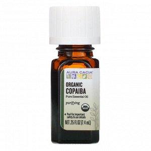 Aura Cacia, чистое эфирное масло, органический копайба, 7,4 мл (0,25 жидк. унции)