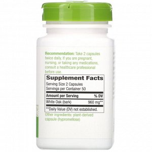 Nature&#x27 - s Way, White Oak Bark, 960 mg, 100 Vegan Capsules