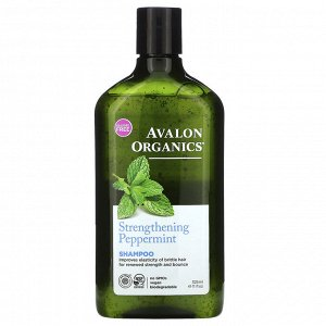 Avalon Organics, Шампунь, укрепляющая мята, 11 жидкая унция (325 мл)