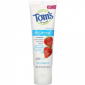 Tom&#x27 - s of Maine, Natural Children&#x27 - s Toothpaste, Fluoride-Free, Silly Strawberry, 5.1 oz (144 g)