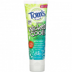 Tom&#x27 - s of Maine, Wicked Cool!, Natural Fluoride Toothpaste, Kids 8+, Wild Mint, 5.1 oz (144 g)
