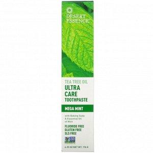 Desert Essence, Зубная паста  - ультрауход -  с маслом чайного дерева, мега мята, 176 г (6.25)