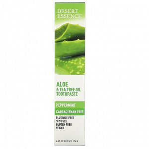 Desert Essence, Зубная паста с алоэ и маслом чайного дерева, Перечная мята, 6,25 унц. (176 г)