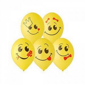 """Воздушный шар латексный с рисунком 14"""" улыбка 2цв желтый"""