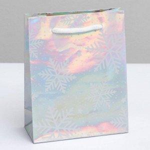 Пакет голографический вертикальный «Снежинки», S 12 ? 15 ? 5.5 см   5047711