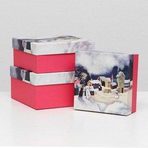 """Набор коробок 3 в 1 """"Зимние вечера"""", 19 х 19 х 9,5 - 15,5 х 15,5 х 6,5 см"""