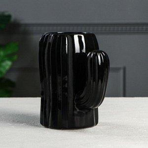 """Ваза настольная """"Кактус"""". глазурь. цвет черный. 16 см. керамика"""