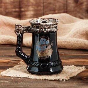 """Бокал для пива """"Корабль"""", коричневый, деколь, 0.7 л, микс"""