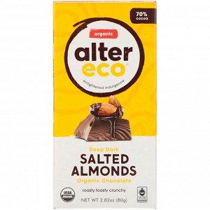 Alter Eco, Organic Chocolate Bar, Deep Dark Salted Almonds, 70% Cocoa, 2.82 oz (80g)