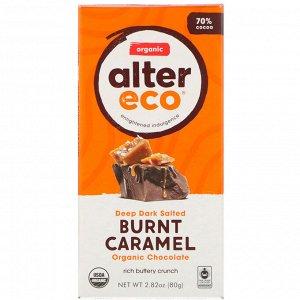Alter Eco, Organic Chocolate Bar, Deep Dark Salted Burnt Caramel, 70% Cocoa, 2.82 oz (80 g)
