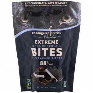 Endangered Species Chocolate, Extreme Dark Chocolate Bites, 88% Cocoa, 12 Wrapped Pieces, 4.2 oz (119 g)