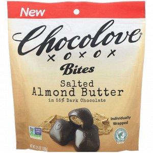 Chocolove, Bites, Salted Almond Butter in 55% Dark Chocolate, 3.5 oz (100 g)