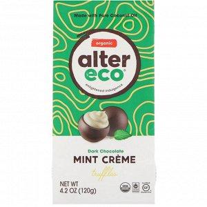 Alter Eco, Органические трюфели с мятным кремом, черный шоколад, 120 г (4,2 унции)