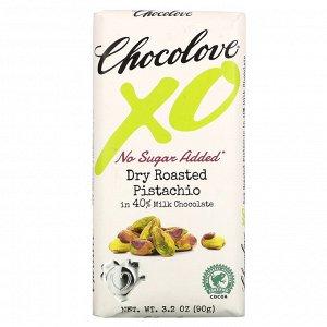 Chocolove, XO, Dry Roasted Pistachio in 40% Milk Chocolate Bar, 3.2 oz ( 90 g)
