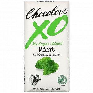 Chocolove, XO, Mint in 60% Dark Chocolate Bar, 3.2 oz (90 g)