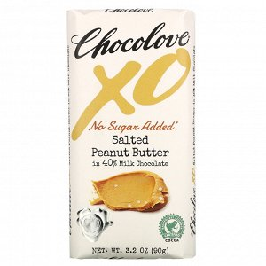 Chocolove, XO, Salted Peanut Butter in 40% Milk Chocolate Bar, 3.2 oz ( 90 g)