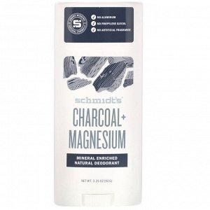 Schmidt&#x27 - s, Натуральный дезодорант, древесный уголь + магний, 92 г (3,25 унции)