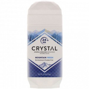 Crystal Body Deodorant, Mineral Enriched Deodorant, Invisible Solid, Mountain Fresh, 2.5 oz (70 g)