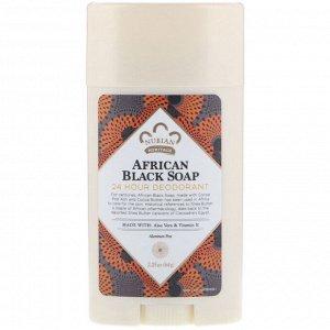 Nubian Heritage, Дезодорант с защитой 24 часа, африканское черное мыло, 64 г
