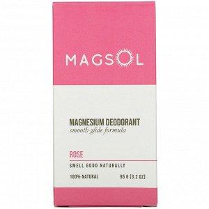 Magsol, Magnesium Deodorant, Rose, 3.2 oz (95 g)