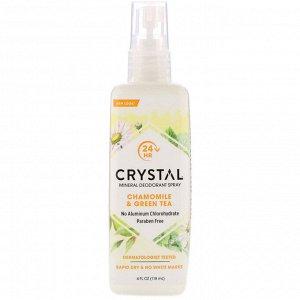 Crystal Body Deodorant, Минеральный дезодорант-спрей с ромашкой и зеленым чаем, 118 мл (4 жидких унции)