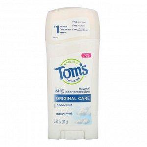 Tom&#x27 - s of Maine, Natural Deodorant, Original Care, Unscented, 2.25 oz (64 g)