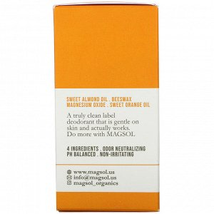 Magsol, Magnesium Deodorant, Sweet Orange, 3.2 oz (95 g)