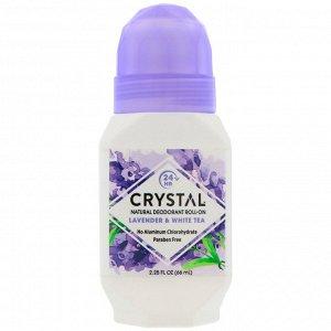 Crystal Body Deodorant, Натуральный шариковый дезодорант с лавандой и белым чаем, 2,25 жидкой унции (66 мл)