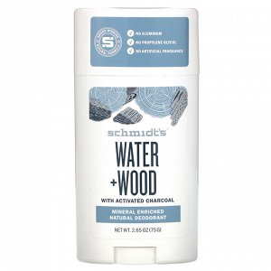 Schmidt&#x27 - s, Natural Deodorant, Water + Wood with Charcoal, 2.65 oz (75 g)