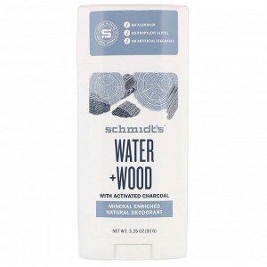 Schmidt&#x27 - s, Natural Deodorant, Water + Wood, 3.25 oz (92 g)