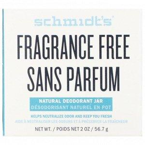 Schmidt&#x27 - s, Натуральный дезодорант в баночке, без отдушки, 56,7 г (2 унции)