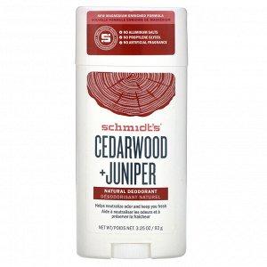 Schmidt&#x27 - s, Natural Deodorant, Cedarwood + Juniper, 3.25 oz (92 g)