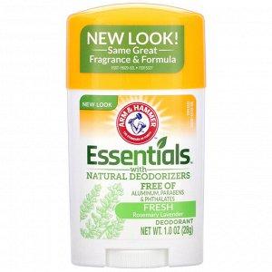 Arm & Hammer, Essentials с натуральными дезодорирующими компонентами, дезодорант, свежий розмарин и лаванда, 28 г (1,0 унции)