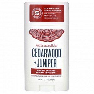 Schmidt&#x27 - s, Natural Deodorant, Cedarwood+Juniper, 2.65 oz (75 g)