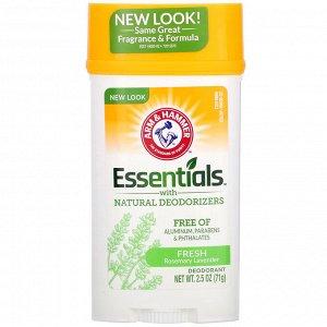 Arm & Hammer, Essentials с натуральными дезодорирующими компонентами, дезодорант, свежий розмарин и лаванда, 71 г (2,5 унции)