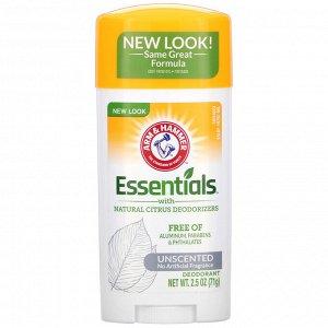 Arm & Hammer, Essentials с натуральными цитрусовыми дезодорирующими компонентами, дезодорант, без запаха, 71 г (2,5 унции)