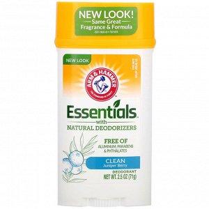 Arm & Hammer, Essentials, дезодорант, с натуральными дезодорирующими компонентами, чистота, можжевеловая ягода, 71 г (2,5 унции)