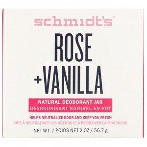 Schmidt&#x27 - s, Натуральный дезодорант в баночке, роза и ваниль, 56,7 г (2 унции)