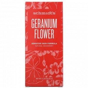 Schmidt&#x27 - s, Натуральный дезодорант, для чувствительной кожи, цветок герани, 92 г (3,25 унции)