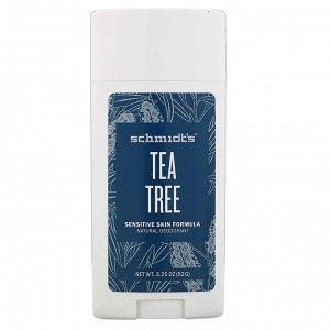Schmidt&#x27 - s, Натуральный дезодорант, для чувствительной кожи, чайное дерево, 92 г (3,25 унции)