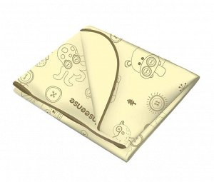 Клеенка INSEENSE подкладная с ПВХ покрытием размер 0,7 х 1м окантовано тесьмой (желтый с рисунком) I