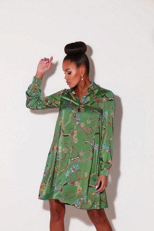 Шёлковое платье-рубашка с принтом