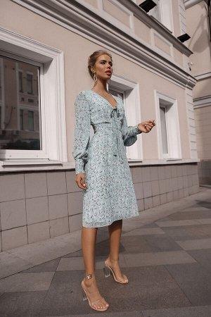 Платье из креп-шифона с завязками на декольте