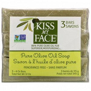 Kiss My Face, Pure Olive Oil Soap, Fragrance Free, 3 Bars, 4 oz (115 g) Each